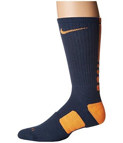 Nike Elite Basketball Crew Squadron Blue/Bright Citrus/Bright Citrus Crew Cut Socks Shoes (Gold Socks Elite Nike)