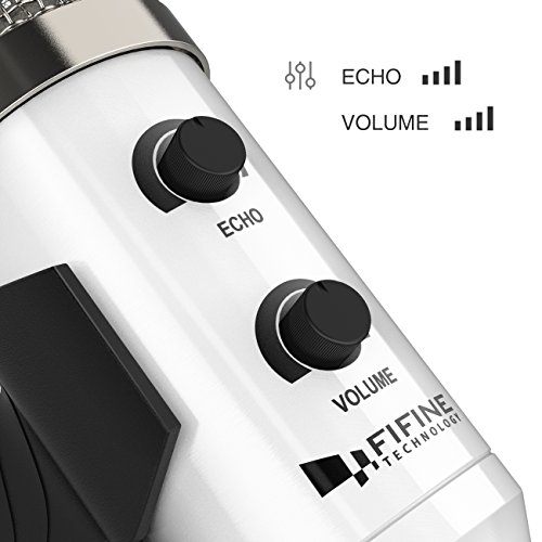 USB Condenser Mic Fifine Plug & Play Desktop Microphones For PC/Computer(Windows, Mac, Linux OX), Podcasting, Recording-White(K056) by FIFINE TECHNOLOGY (Image #2)