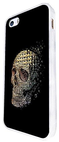 1205 - Multi Sugar Skulls Collage In Skull Design iphone SE - 2016 Coque Fashion Trend Case Coque Protection Cover plastique et métal - Blanc