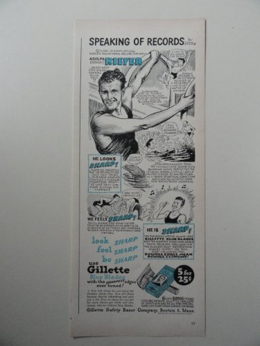 Gillette Razor Blades, 1947 illustration, Print Ad.(speaking of records by Frank Williams) Original 1947 Life Magazine Print art