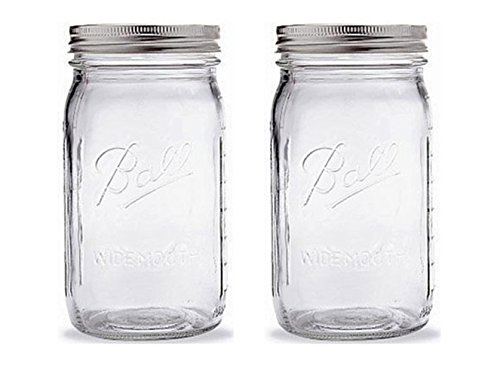 1 Quart Mason Jars - Ball Quart Jar with Silver Lid, Wide Mouth, Set of 2