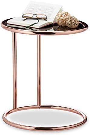 Koop Nieuwste Relaxdays bijzettafel koper, tafelblad van zwart glas, ronde woonkamertafel, glazen tafel, H x D: 52x45 cm, koper  BndaktM