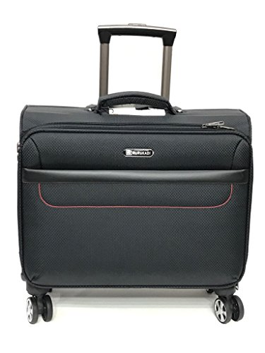 4 Wheel Drive 360 Spinner Laptop Trolley Bag Travel Luggage Rolling Trolley Business Catalog Case (Black Red) - Laptop Bag Wheels