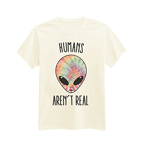 Andre's Designs Unisex Adult's Humans Aren't Real - I Don't Believe In Humans - Tie Dye Alien - Extraterrestrial - Hipster Indie Swag S - Fashion Indie Mens