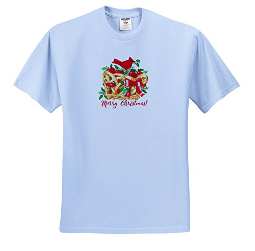 Russ Billington Christmas Designs - Merry Christmas- Red Cardinal With Holly On Fruit Basket - T-Shirts - Adult Light-Blue-T-Shirt 5XL (TS_261727_57)