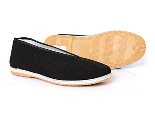 Aircee (TM) Old Beijing Chinese Traditional Rubber Sole Cloth Men Youth Kung Fu Tai Chi Shoes Black
