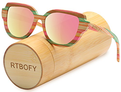 Cat Eye Polarized Wood Sunglasses For Women Wayfarer Style - 100% UV - Sunglasses Couple