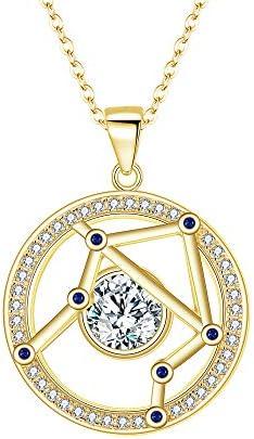 FANZE Femme Collier Boules dOreilles Ensemble Argent 925 CZ Horoscope Signe du Zodiaque 12 Constellations Dor/é