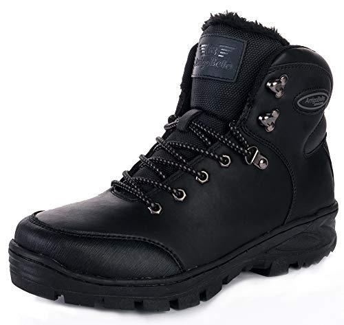 Allineato Scarpe Pelliccia Stivali Escursionismo Da Abtop Piatto Sportive Boots nero Neve Invernali Caviglia Uomo Caloroso Stivaletti A7351 045XqqwY