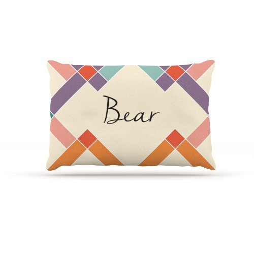 Kess InHouse ''Bear'' Colorful Geometry Name Fleece Dog Bed, 30 by 40-Inch, Rainbow/Tan by Kess InHouse