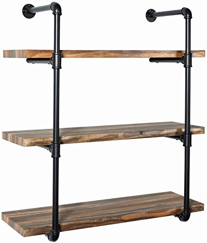 IRONCK Industrial Shelving Pipe Shelf 3-Tier, Planks Included, Rustic Home Decor Wall Decor, Wall Shelves for Bedroom… 7