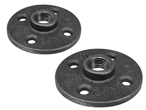 Floor Flange 2in (LDR Pipe Décor Industrial Steel Grey ½ Inch Iron Pipe Floor Flange (2-Pack))