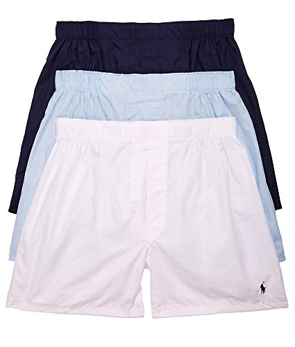 (Polo Ralph Lauren Classic Fit Woven Cotton Boxers 3-Pack, M,)