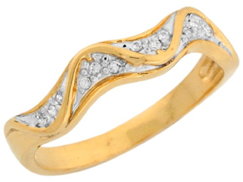 14k Two Tone Gold White CZ Waves Design Band Ladies Anniversary Ring