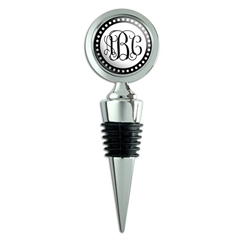 - Graphics and More Personalized Custom Wine Bottle Stopper - Monogram Fancy Font Scalloped Outline