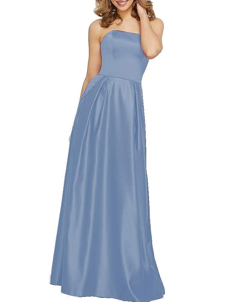 Slate bluee Stylefun Women's Satin Bridesmaid Dress Long Prom Dresses with Pocket BD88008