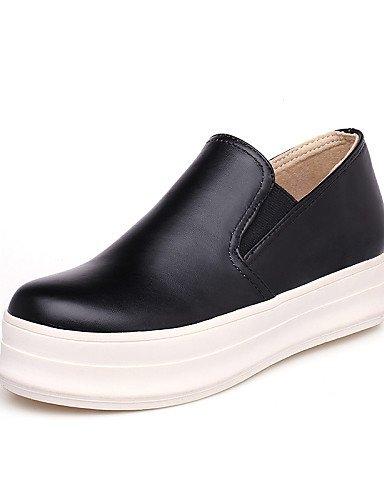 ZQ gyht Zapatos de mujer-Tacón Plano-Punta Redonda-Mocasines-Casual-Semicuero-Negro / Blanco , white-us10.5 / eu42 / uk8.5 / cn43 , white-us10.5 / eu42 / uk8.5 / cn43 white-us5.5 / eu36 / uk3.5 / cn35