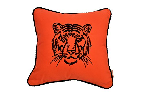 - Resort Spa Home Decor Eye of The Tiger Striking Embroidered Monogram Decorative Accent Throw Pillow - Melon Orange w/Black Rope