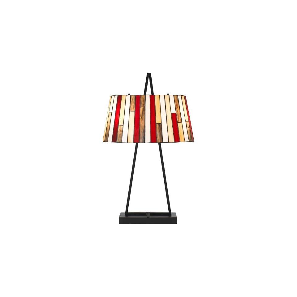 Cal Lighting Tiffany Table Lamp, 28.5, Black