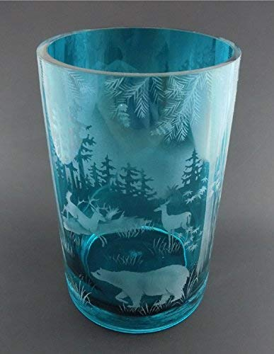 IncisoArt Hand Etched Glass Vase Permanently Sandblasted (Sand Carved) Handmade Engraved Tabletop Centerpiece (Round 8 Inch x 5 Inch, Teal Forest Mountain Wildlife Animal - Glass Etched Tabletops