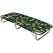 "Kids Junior Cot Portable Folding Travel Bed - Camping Outdoor Hiking RV or School Child Daycare - 60"" Long - Includes Travel Bag - Camouflage - GigaTent"