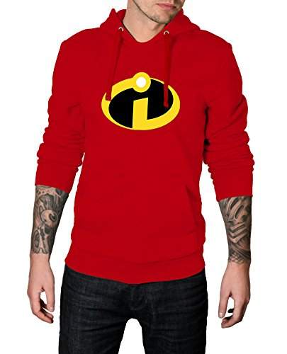 Men The Incredibles Logo Costume for Halloween 2017 - Cosplay Hoodie | Red, (Incredibles Outfit)