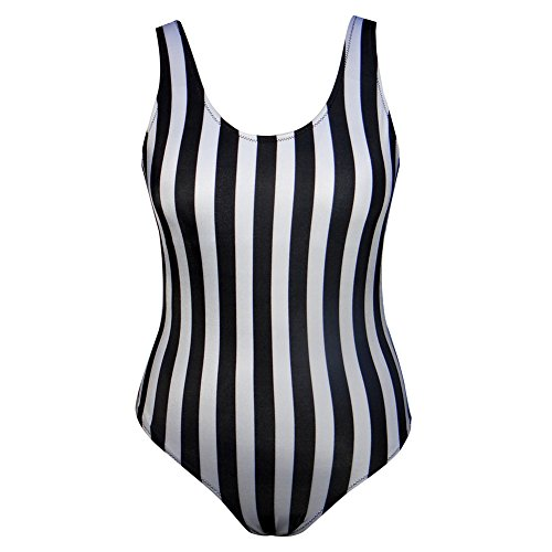 GIRL AND SEA Women's Retro High Cut Low Back Striped One Piece Swimsuit Bathing Suits Black and White M (White Bathing Striped Suit)