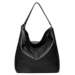 Hoxis Faux Leather Slouchy Hobo Bucket Shoulder Handbag Womens Tote Purse (Black)