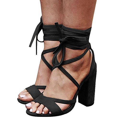 Syktkmx Womens Strappy Lace Up Pumps Peep Toe Ankle Wrap High Chunky Block Heel Sandals ()