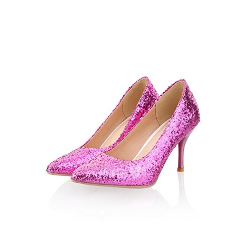 WeiPoot Toe Sequin Women's High Solid Stiletto Purple Frosted PU Closed Pointed Pumps wrAq1xr