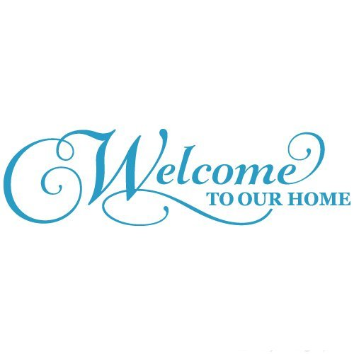 Welcome To Our Home Quote Vinyl Wall Decal Sticker Art, Removable Words Home Decor, Light Blue, 35in x 10in