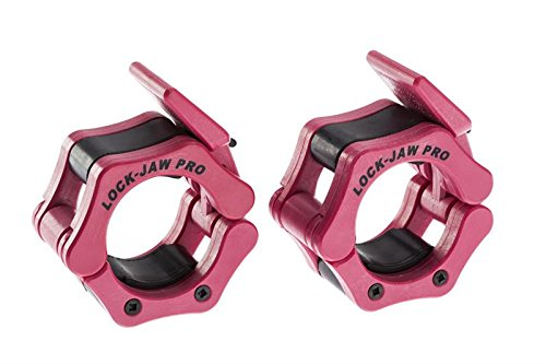 Lock-Jaw 2 Inch Pro Locking Olympic Barbell Collar 10 Pair Set PINK for Cross-Training and Boot Camp Fitness by Ironcompany.com