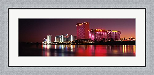Casinos at the waterfront, Laughlin, Nevada by Panoramic Images Framed Art Print Wall Picture, Flat Silver Frame, 35 x 17 - Of Images Nevada Laughlin