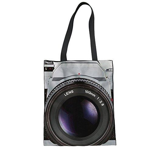 Print Large Shopper Handbag - doginthehole Women Canvas Laptop Tote Bag Camera Print Shopper Beach Handbags