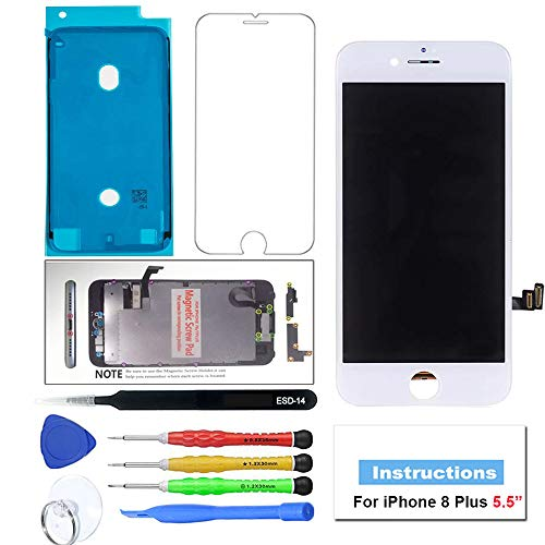 (QIANZEY666 Compatible with iPhone 8 Plus LCD Screen Replacement White 5.5 inch,3D Touch Screen Digitizer Assembly with Complete Repair Tools and Screen Protector)