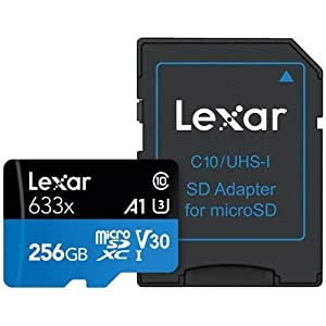 Lexar 256GB High-Performance UHS-I Class 10 U1 633x microSDXC Memory Card with SD Adapter, 95MB/s Read, 20MB/s Write