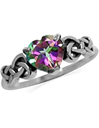 1.43ct. Heart Shape Mystic Fire Topaz 925 Sterling Silver Celtic Knot Ring