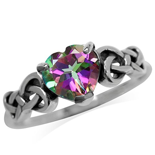 1.43ct. Heart Shape Mystic Fire Topaz 925 Sterling Silver Celtic Knot Ring Size ()