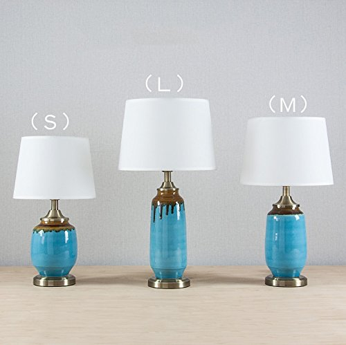 HH Simple modern ceramic table lamp blue decoration living room bedroom bedside lighting ( Size : L )