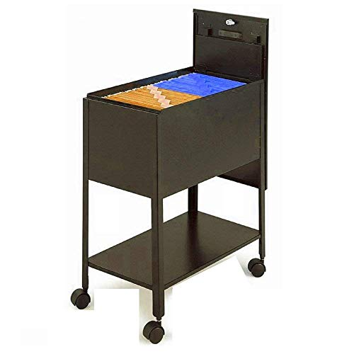 File Rolling Cart for Letter Size-Hanging Files, Rolling Cart with Lid,Bottom Shelf and 4 Wheels, Storage Letter Files Organizer,Heavy Duty Locking Moveable Cart with ()
