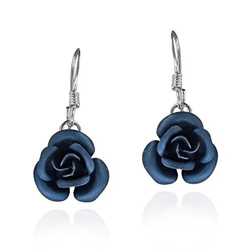 Simply Beautiful Blooming Navy Blue Rose .925 Sterling Silver Dangle Earrings