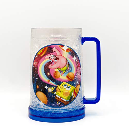 Nickelodeon SG13088T SpongeBob and Patrick Space Burger Freeze Gel Plastic Stein, 16-Ounce, Multicolor