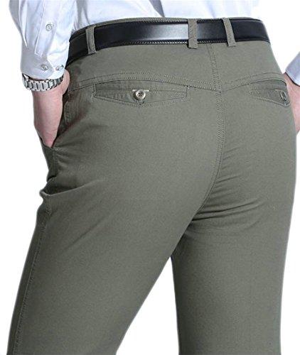 GH Men Solid Color Plain-Front Straight Casual Dress Suit Pants Army Green XXS (Pants Plain Front Week)