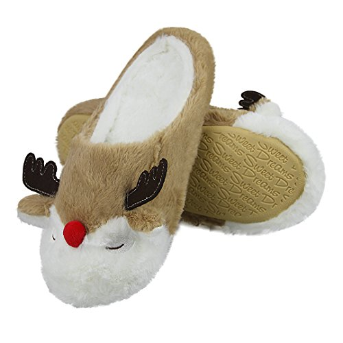 Slippers Womens Fuzzy on Cozy Girls Cartoon Home Ankle Winter slip Slide Slip Slipper Boots Non Soft Warm Indoor Fleece Plush Ladies Cute Booties Slippers Slippers Fakeface House Bedroom Brown Elk Thermal Shoes 6wIS7