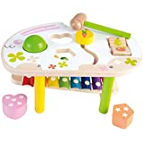 Wooka Wooden Educational Toys Pound and Tap Bench with Slide Out Xylophone for 1 Year Old and up, Bunny Shape