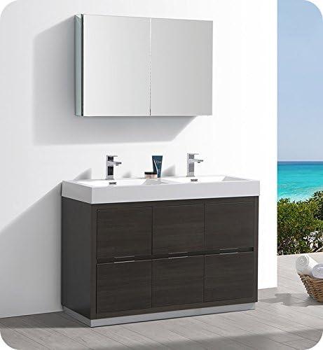 Fresca Valencia 48″ Gray Oak Free Standing Double Sink Modern Bathroom Vanity w/Medicine Cabinet