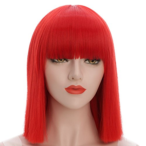 karlery Straight Short Hair Bob Wigs with Flat Bangs Synthetic Wigs for Women Natural As Real Hair (Red)