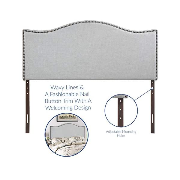 Modway Curl Linen Fabric Upholstered Full Headboard with Nailhead Trim and Curved Shape in Gray