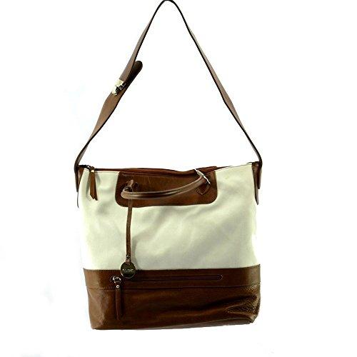 Pulicati Damentasche aus Leder und Stoff. Farb: Weiss