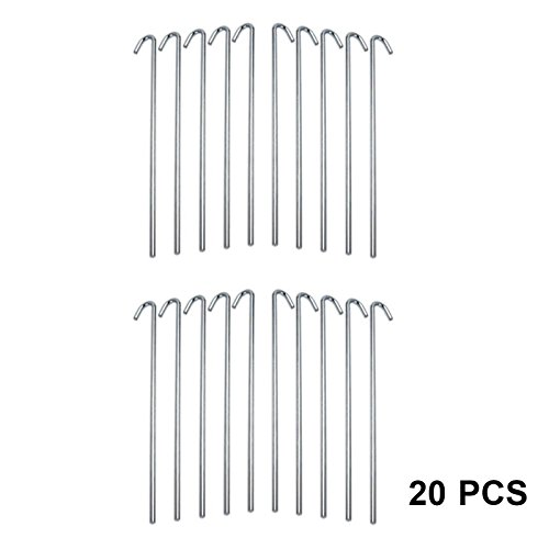 (HUJI Galvanized Heavy Duty Steel Tent Pegs Garden Stakes for Outdoors Sports Camping Anchoring Canopies Traps Garden Plants (20 Pegs, 9 Inch))
